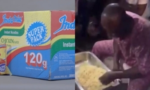 Man finishes 10 hot Indomie Super Pack noodles in Lagos (Video)